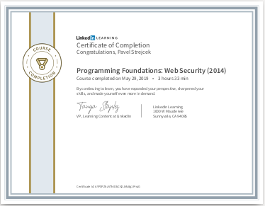 Certifikát Web Security (2014)